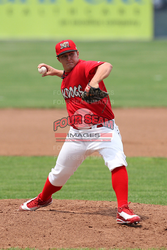 Batavia Muckdogs pitcher Nick McCully (13) during a game vs. the State College Spikes at Dwyer Stadium in Batavia, New York June 27, 2010.   State College defeated Batavia 4-2.  Photo By Mike Janes/Four Seam Images