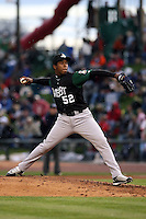 June 17th 2008:  Neftali Feliz of the Clinton Lumberkings, Class-A affiliate of the Texas Rangers, during the Midwest League All-Star Game at Dow Diamond in Midland, MI.  Photo by:  Mike Janes/Four Seam Images