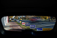 Campaign signs line the road outside the Colorado Republican Headquarters in Denver...GENERAL CAPTION: People and scenes from Colorado Election Day, 2010.  Colorado is home to several hotly contested seats, including a close Senate Race and several house seats...Assigning Editor: Michael Wichita AARP Bulletin.Contract #: 5032.Model Released: Yes.AARP Restrictions: No (Limited to Contract).Credit: Matt Slaby/LUCEO.