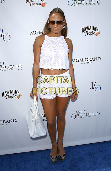 Jennifer Lopez.Jennifer Lopez celebrates her world tour with a special appearance at Wet Republic at The MGM Grand Casino Resort, Las Vegas, Nevada, USA, .18th August 2012..white full white crop cropped top sunglasses platform shoes wedges hermes birkin bag crochet sleeveless matching peep toe  snakeskin snake stomach midriff tummy .CAP/ADM/MJT.© MJT/AdMedia/Capital Pictures.
