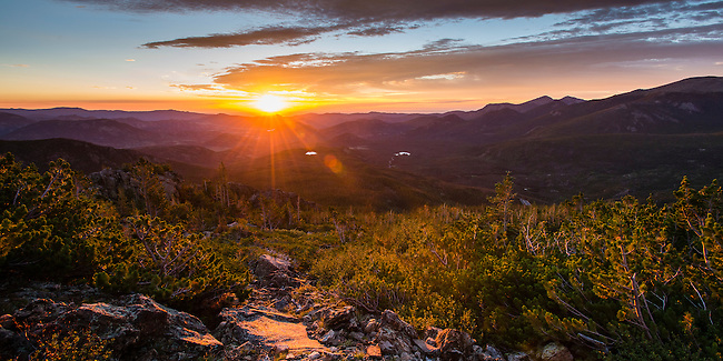 summer sunrise along the trail on Flattop Mtn,  Rocky Mountain National Park, Colorado, USA