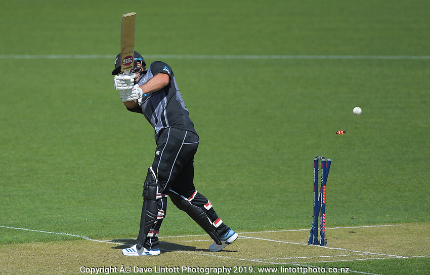 New Zealand's Colin de Grandhomme is cleanbowled by England's Lewis Gregory. Twenty20 International cricket match between NZ Black Caps and England at Westpac Stadium in Wellington, New Zealand on Sunday, 3 November 2019. Photo: Dave Lintott / lintottphoto.co.nz