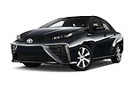 Stock pictures of low aggressive front three quarter view of 2016 Toyota Mirai Mirai 4 Door Sedan Low Aggressive