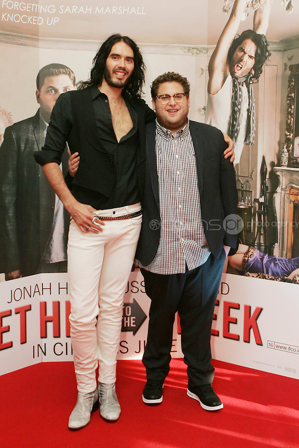 22/6/2010. Get Him to the Greek Irish Premiere.  Russel Brand and Jonah Hill  are pictured arriving at the Savoy Cinema Dublin for the Irish Premiere of Get Him to the Greek. Picture James Horan/Collins Photos