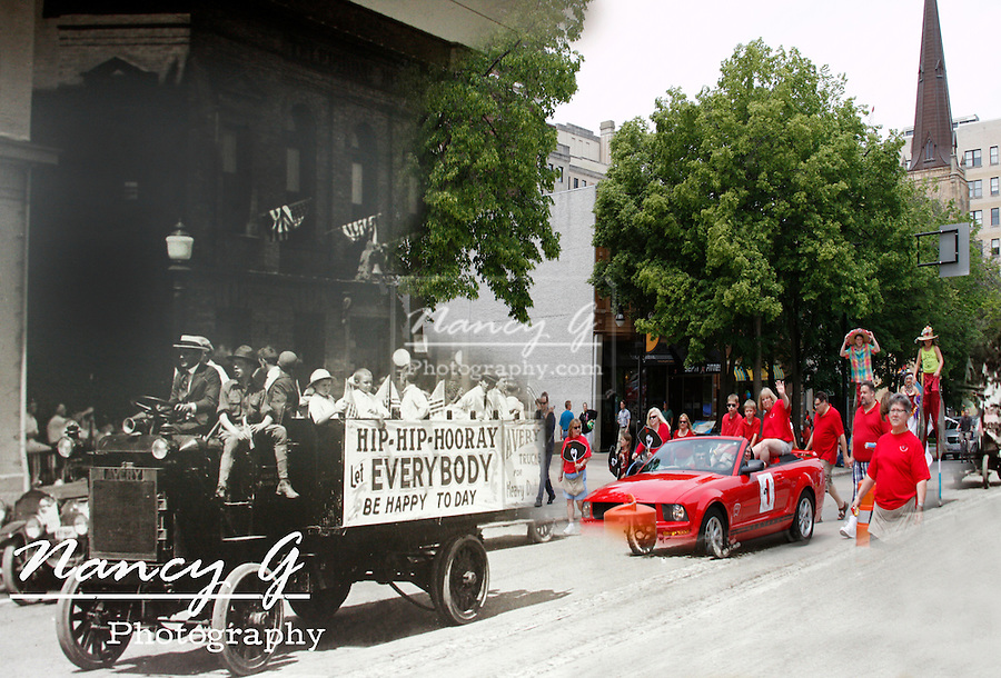 Madison Wisconsin blend from an old photo with a current 2013 parade photo on Carroll St view NW
