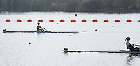 Caversham. Berkshire. UK<br /> Top, Mathilda HODGKINS-BYRNE, out in front in the second semi finalA/B2 at the 2016 GBRowing U23 Trials at the GBRowing Training base near Reading, Berkshire.<br /> <br /> Tuesday  12/04/2016<br /> <br /> [Mandatory Credit; Peter SPURRIER/Intersport-images]