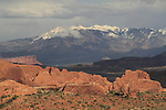 Getty Images exclusive,Fiery Furnace rock formations and the La Sal Mountains  in Arches National Park, Utah, USA. .  John offers private photo tours in Arches National Park and throughout Utah and Colorado. Year-round.