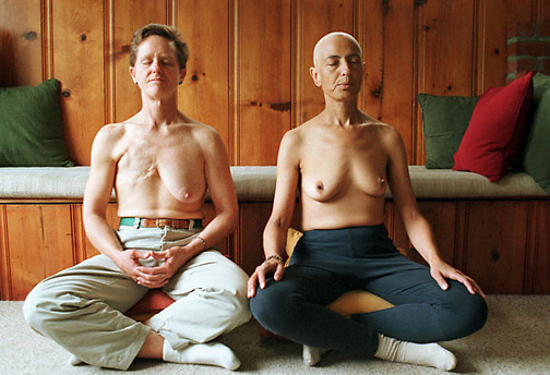 Breast cancer patients Susan Detjens, left, and Linda Watson meditate together following a chi gung wellness support group. Ten years after defeating breast cancer, Watson died from a resurgence of cancer approxinmately one year after this photograph was taken. Copyright © May 2000 Pico van Houtryve  .
