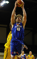 Saints forward Casey Frank goes up during the National basketball league match between the Wellington Saints  and Taranaki Mountainairs at TSB Bank Arena, Wellington, New Zealand onFriday, 9 April 2010. Photo: Dave Lintott / lintottphoto.co.nz