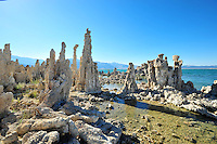 "Sept. 5, 2010 - Mono Lake, California, U.S. - Tufa towers are seen along the shore of Mono Lake near Lee Vining, California.  ""Tufa towers,"" are calcium-carbonate spires and knobs formed by interaction of freshwater springs and alkaline lake water. Mono Lake is a majestic body of water covering about 70 square miles. It is an ancient lake, over 1 million years old -- one of the oldest lakes in North America. It has no outlet and no fish; instead it is home to trillions of brine shrimp and alkali flies. (Photo by Alan Greth/ZUMA Press)"
