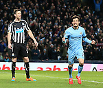 David Silva of Manchester City celebrates his second goal - Barclays Premier League - Manchester City vs Newcastle Utd - Etihad Stadium - Manchester - England - 21st February 2015 - Picture Simon Bellis/Sportimage