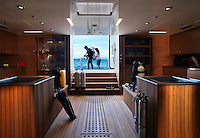 Pegaso is equipped with the latest scuba diving equipment which is stored in this teak lined cabin