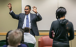Dr. Freeman Hrabowski, president of the University of Maryland - Baltimore County, and chair of the President's Advisory Commission on Educational Excellence for African Americans, fields questions from the audience as he speaks Tuesday, April 18, 2017, at DePaul University as part of the President's Speakers Series on Race and Free Speech. His research and publications focus on science and math education, with special emphasis on minority participation and performance. (DePaul University/Jamie Moncrief)