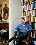 Christopher Wright art historian, curator, author at home London UK 1990s.