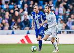 Gareth Bale (R) of Real Madrid competes for the ball with John Guidetti of Deportivo Alaves  during the La Liga 2017-18 match between Real Madrid and Deportivo Alaves at Santiago Bernabeu Stadium on February 24 2018 in Madrid, Spain. Photo by Diego Souto / Power Sport Images