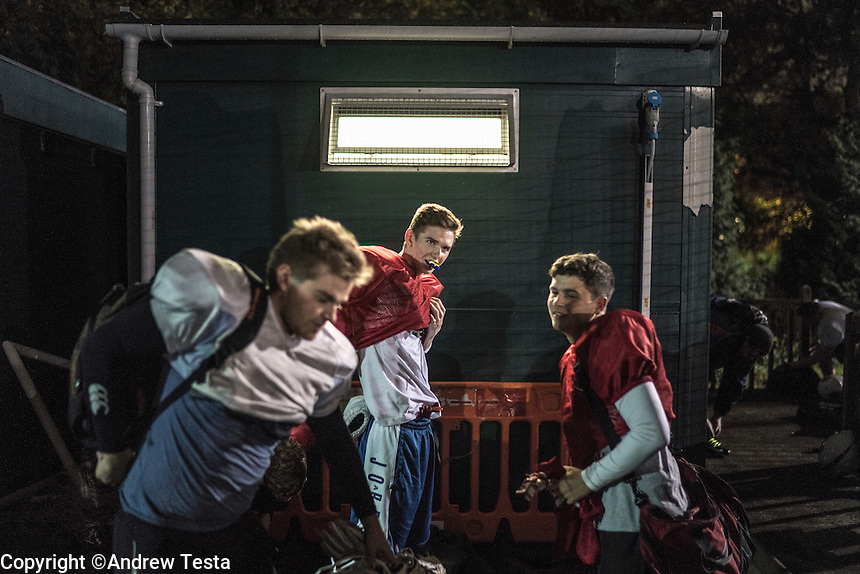 UK. Birmingham.  29th  October 2015<br /> Lions players kit up before and outdoor training session on the University of Birmingham campus.<br /> Andrew Testa for the New York Times