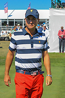Kevin Kisner (USA) walks to the driving range to warm up during round 4 Singles of the 2017 President's Cup, Liberty National Golf Club, Jersey City, New Jersey, USA. 10/1/2017. <br /> Picture: Golffile | Ken Murray<br /> <br /> All photo usage must carry mandatory copyright credit (&copy; Golffile | Ken Murray)