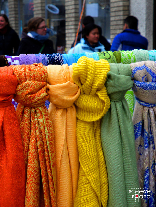 Colorful scarves on display outside a store in Madison, Wisconsin.