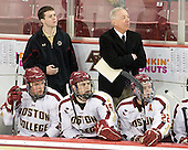 Bill Arnold (BC - 24), Chris Malloy (BC - Manager), Chris Kreider (BC - 19), Jerry York (BC - Head Coach), Paul Carey (BC - 22) - The visiting Merrimack College Warriors tied the Boston College Eagles at 2 on Sunday, January 8, 2011, at Kelley Rink/Conte Forum in Chestnut Hill, Massachusetts.