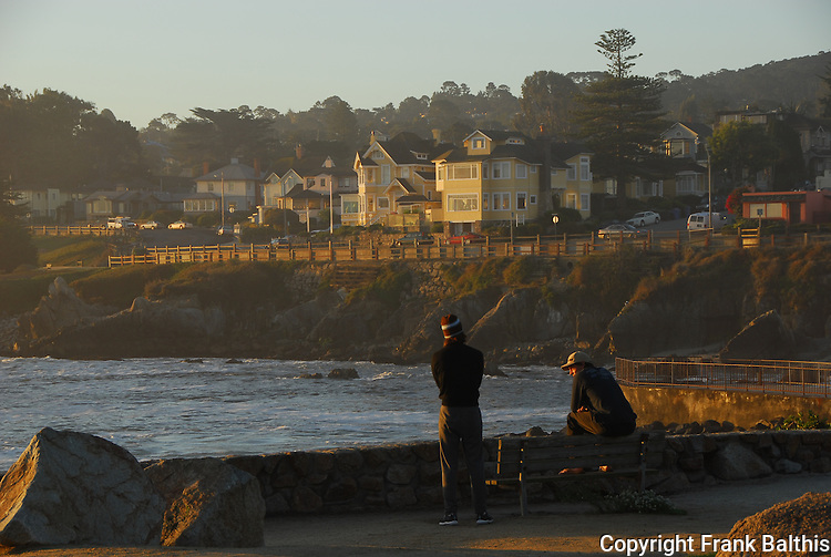 Men on bench at Lover's Point in Pacific Grove