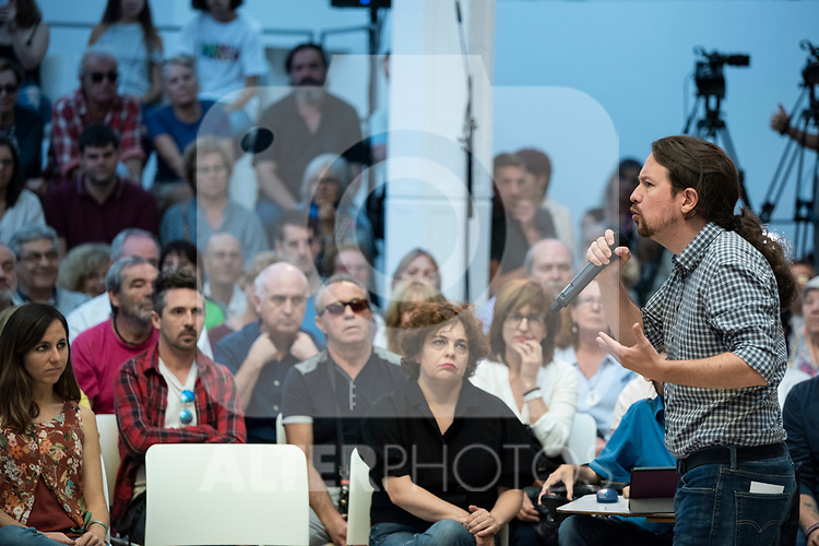 Pablo Iglesias, secretary general of Podemos;  Ione Belarra, deputy spokesperson for United We can;  Gloria Elizo, secretary in Podemos of Politices against corruption;  in a meeting of Podemos with people in Madrid where they exchange points of view, listen to concerns and draw shared horizons.<br /> October 5, 2019. <br /> (ALTERPHOTOS/David Jar)