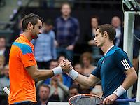 Rotterdam, The Netherlands. 14.02.2014. ABN AMRO World Tennis Tournament Marin Cilic(KRO) Defeats Andy Murray(GBR)<br /> Photo:Tennisimages/Henk Koster