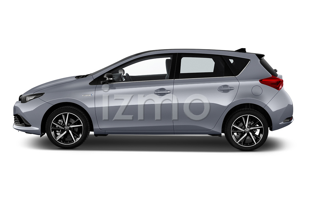 Car driver side profile view of a 2018 Toyota Auris Hybrid Black Edition 5 Door Hatchback