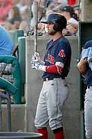 Salem Red Sox infielder C.J. Chatham (22) in the dugout during a game against the Myrtle Beach Pelicans at Ticketreturn.com Field at Pelicans Ballpark on June 8, 2018 in Myrtle Beach, South Carolina. Myrtle Beach defeated Salem 5-4. (Robert Gurganus/Four Seam Images)