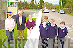 SLOW DOWN: Staff and pupils at Knockanure national school who are campaigning for traffic calming measures outside the school, l-r: Breda Kiely, Cllr Tim Buckley, Julienne Donegan (principal), Carol Clancy, Jack Goulding, Shane Carmody, Jerry Clancy.