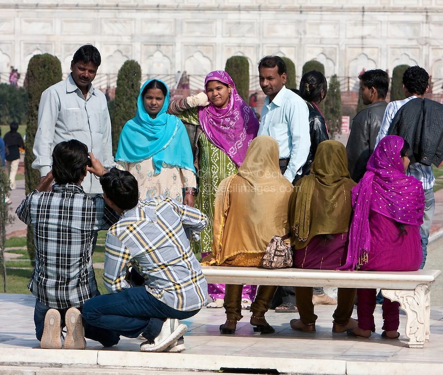 Agra, India.  Indian Tourists Visiting the Taj Mahal.