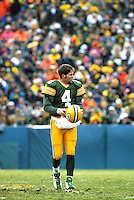 Green Bay Packers Quarterback Brett Favre takes the field on December 8, 1996 against the Denver Broncos at Lambeau Field. Favre threw for 4 touchdowns as the Pack won the contest 41-6.