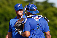 19 September 2012: Team France pitching coach Eric Gagne talks to catcher Ernesto Martinez as he pitches against Palm Beach State College during Team France friendly game against Palm Beach State College, during the 2012 World Baseball Classic Qualifier round, in Lake Worth, Florida, USA.