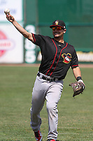 Quad Cities River Bandits outfielder Derek Fisher (22) warms up prior to a game against the Wisconsin Timber Rattlers on May 2nd, 2015 at Fox Cities Stadium in Appleton, Wisconsin.  Quad Cities defeated Wisconsin 5-2.  (Brad Krause/Four Seam Images)