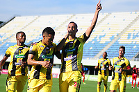 BARRANCABERMEJA - COLOMBIA, 21-07-2019: Luciano Ospina del Alianza celebra después de anotar el primer gol de su equipo partido por la fecha 2 de la Liga Águila II 2019 entre Alianza Petrolera y Rionegro Águilas jugado en el estadio Daniel Villa Zapata de la ciudad de Barrancabermeja. / Luciano Ospina of Alianza celebrates after scoring the first goal of his team during match for the date 2 as part of Aguila League II 2019 between Alianza Petrolera and Rionegro Aguilas played at Daniel Villa Zapata stadium in Barrancabermeja city. Photo: VizzorImage / Jose Martinez / Cont