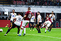 Krzysztof Piatek of AC Milan scores the goal of 2-0 for his side <br /> Milano 20/10/2019 Stadio Giuseppe Meazza <br /> Football Serie A 2019/2020 <br /> AC Milan - Lecce <br /> Photo Image Sport / Insidefoto