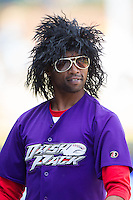 """J.J."" of ""The Dash Pack"" entertains the crowd between innings of the Carolina League game between the Frederick Keys and the Winston-Salem Dash at BB&T Ballpark on May 18, 2014 in Winston-Salem, North Carolina.  The Dash defeated the Keys 7-6.  (Brian Westerholt/Four Seam Images)"