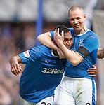 07.04.2018 Rangers v Dundee:<br /> Alfredo Morelos and Kenny Miller
