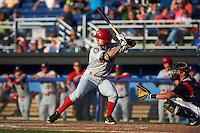 Auburn Doubledays outfielder Rhett Wiseman (2) at bat during a game against the Batavia Muckdogs on July 10, 2015 at Dwyer Stadium in Batavia, New York.  Auburn defeated Batavia 13-1.  (Mike Janes/Four Seam Images)
