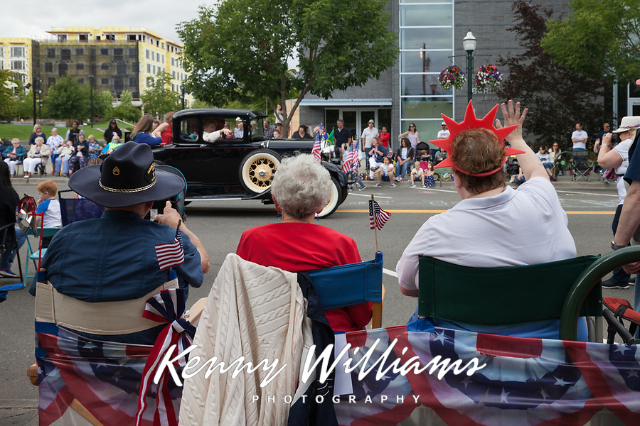 Spectators watching the Independence Day Parade 2016, Burien, Washington, USA.