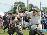 A battle re-enactment at the Annagassan Viking Festival. Photo: Colin Bell/pressphotos.ie