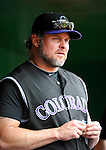 10 July 2011: Colorado Rockies first baseman Jason Giambi stands in the dugout prior to facing the Washington Nationals at Nationals Park in Washington, District of Columbia. The Nationals shut out the visiting Rockies 2-0 salvaging the last game their 3-game series at home prior to the All-Star break. Mandatory Credit: Ed Wolfstein Photo