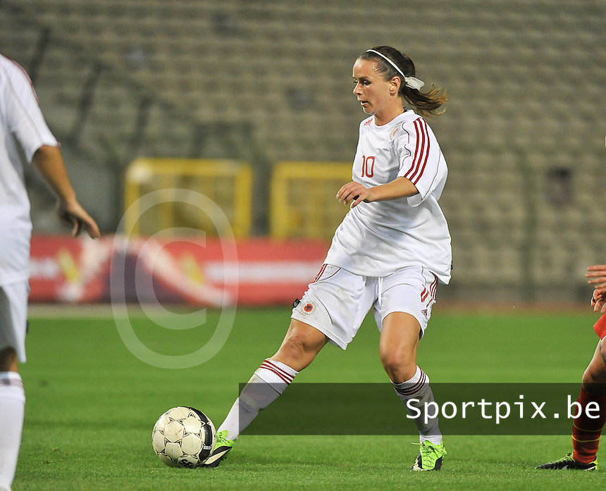 20130921 - BRUSSELS , BELGIUM : Albanian Velaj Furtuna  pictured during the female soccer match between Belgium and Albania , on the first matchday in group 5 of the UEFA qualifying round to the FIFA Women World Cup in Canada 2015 at the Koning Boudewijn Stadion , Brussels . Saturday 21th September 2013. PHOTO DAVID CATRY