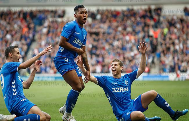 09.08.18 Rangers v Maribor: Alfredo Morelos celebrates his goal