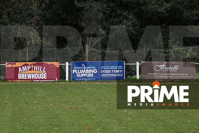 Advertising boards during the Ampthill Town v Flitwick Town match in the Beds Senior Trophy Quarter Final at Ampthill Stadium, Bedfordshire, England on 12 December 2015. Photo by David Horn/PRiME Media Images