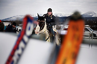 A competitor waits in the starting gate to begin a race at the Whitefish Skijoring World Championship event in Whitefish, Montana, USA.  Skijoring is a competitive sport in which a person on skis navigates an obstacle course while being pulled behind a galloping horse.