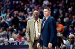 UNCASSVILLE, CT-031818JS18- Sacred Heart head coach Jon Carroll and assistant coach Jay Seay question a foul call during their Division I championship against Notre Dame-Fairfield game Sunday at Mohegan Sun Arena. <br /> Jim Shannon Republican-American