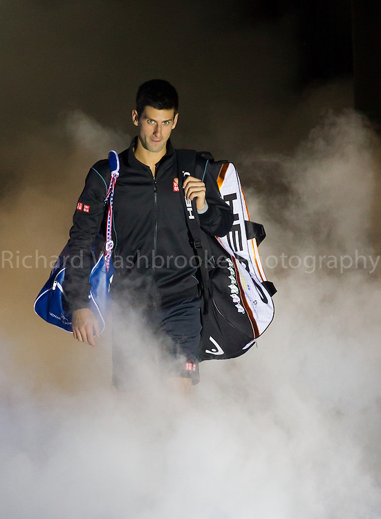 Barclays ATP World Tour Finals 2013<br /> Novak Djokovic (SRB) beat Roger Federer (SUI)  6:4  6:7  6:2<br /> <br /> Tuesday 5th November 2013<br /> <br /> Photo: Richard Washbrooke Sports Photography<br /> Barclays ATP World Tour Finals 2013<br /> <br /> Tuesday 5th November 2013<br /> <br /> Photo: Richard Washbrooke Sports Photography