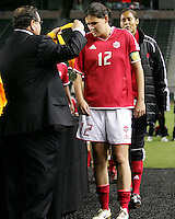 Christine Sinclair receives her medal. USA captured the 2006 Gold Cup at Home Depot stadium in Carson, California on November 26 2006 thanks to a penalty kick call by the referee with only seconds remaining in the last period of overtime. With the penalty kick score USA beat Canada 2-1.