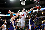 SIOUX FALLS, SD: MARCH 4: Tyler Flack #23 from the University of South Dakota battles for a rebound with Garret Covington #31 from Western Illinois on March 4, 2017 during the Summit League Basketball Championship at the Denny Sanford Premier Center in Sioux Falls, SD. (Photo by Dave Eggen/Inertia)