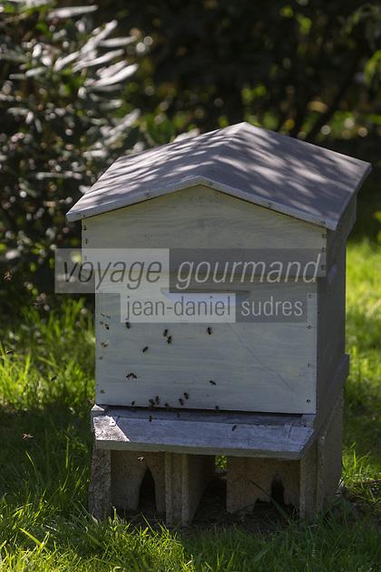 Europe/France/Normandie/Basse-Normandie/50/Manche/  Vauville: Ruche, Jardin Botanique de Vauville // France, Manche, Cotentin, La Hague, Vauville: Vauville Castle Botanical Gardens, hive